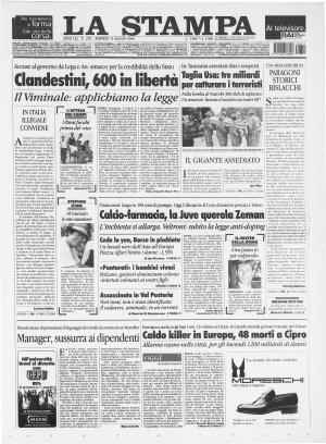 Prima pagina del 11/08/1998