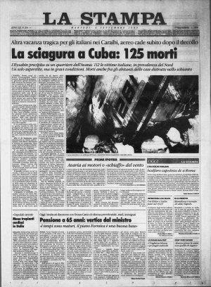 Prima pagina del 05/09/1989