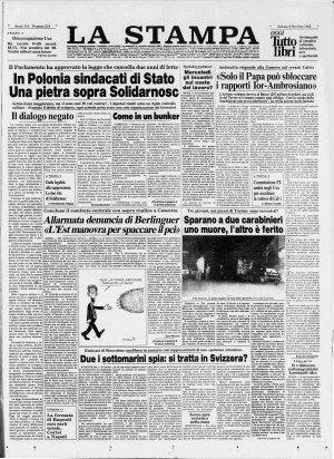 Prima pagina del 09/10/1982