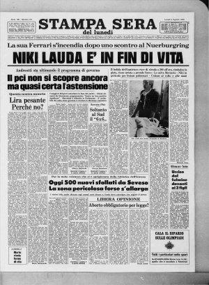 Prima pagina del 02/08/1976
